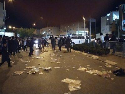 כבישים מלוכלכים במהלך ההפגנה